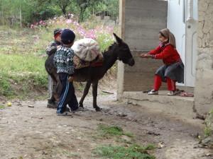 voyage solidaire au Kirghizstan - enfants et âne